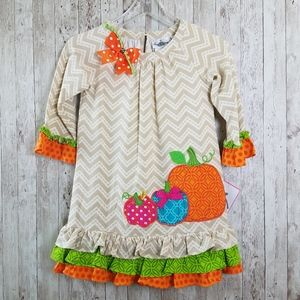 NEW Rare Editions Fall Pumpkin Ruffle Hem Dress
